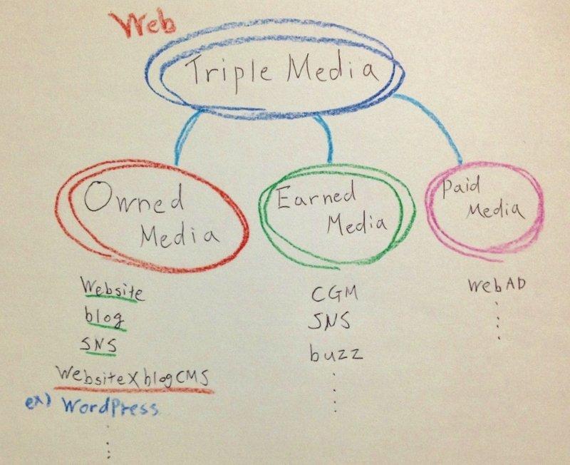 ウェブ上でのトリプルメディアの例 CMSを利用したオウンドメディア構築