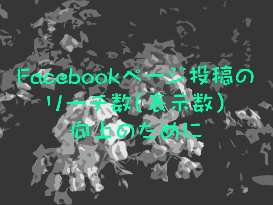 Facebookページ投稿のリーチ数(表示数)向上のために